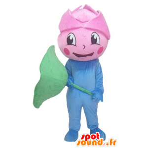 Giant pink mascot, pink flower, blue and green - MASFR24215 - Mascots of plants