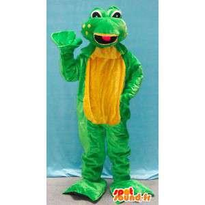 Vihreä ja keltainen sammakko maskotti. sammakko Suit
