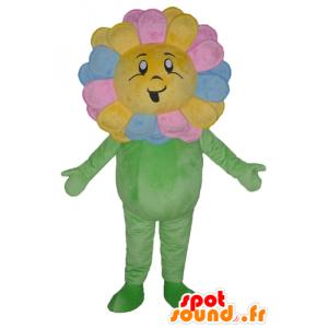 Mascot bastante multicolor de flores, gigante, sonriendo