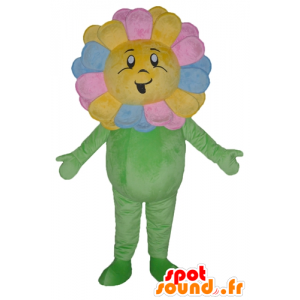 Mascotte mooie veelkleurige bloem, reus, glimlachend