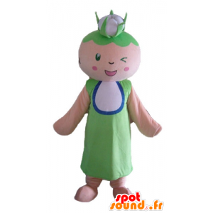 Mascotte de femme, de grand-mère avec un chou-fleur sur la tête