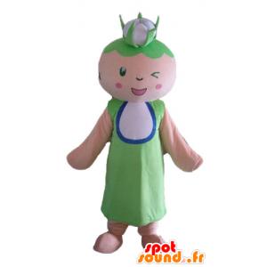 Vrouwelijke mascotte, grootmoeder met een bloemkool op het hoofd