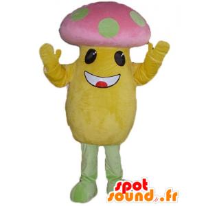 Maskottchen großen gelben und rosa Pilz in der grünen Erbsen - MASFR24228 - Maskottchen von Gemüse