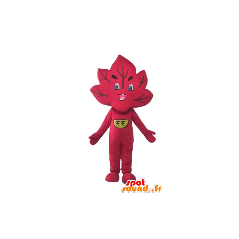 Mascot rotes Blatt, Riesen und lächelnd - MASFR24234 - Maskottchen der Pflanzen