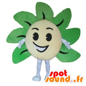 Mascotte de fleur jaune et verte, géante et souriante