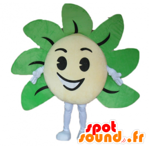 Yellow and green flower mascot, giant and smiling