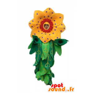 Mascot beautiful yellow and red flower with leaves - MASFR24249 - Mascots of plants