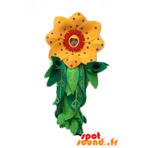 Mascotte mooie gele en rode bloem met bladeren