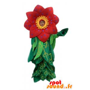 Mascotte de belle fleur rouge et jaune avec des feuilles