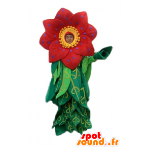 Mascotte mooie rode en gele bloem met bladeren