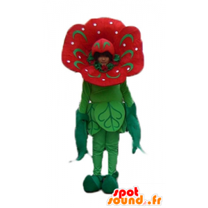 Mascot red and green flower, giant tulip