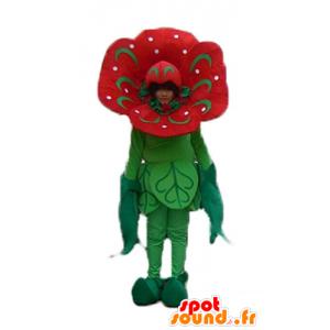 Mascotte de fleur rouge et verte, de tulipe géante