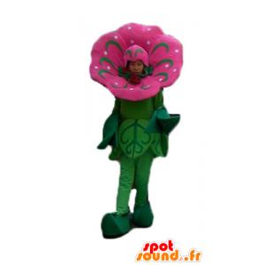 Mascotte de fleur rose et verte, impressionnante et réaliste