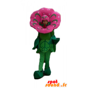 Pink and green flower mascot, impressive and realistic