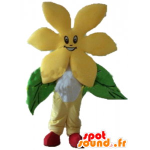 Ładny żółty kwiat maskotka, bardzo uśmiechnięty