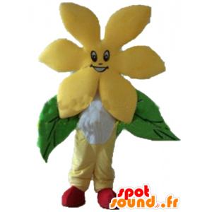 Muito Mascot flor amarela, muito sorridente