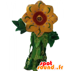 Μασκότ όμορφο κίτρινο και κόκκινο λουλούδι με φύλλα