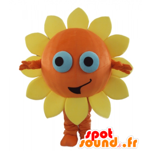 Laranja e amarelo flor Mascot, ensolarado, alegre