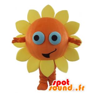 Mascotte de fleur orange et jaune, de soleil, très souriant