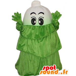 Leek mascot, white vegetable, with a green dress - MASFR24263 - Mascot of vegetables