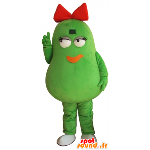 Bean mascot, green potatoes, giant, with a red bow - MASFR24264 - Fruit mascot