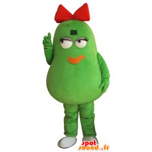 Bean Maskottchen grüne Kartoffeln, riesig, mit einer roten Schleife - MASFR24264 - Obst-Maskottchen
