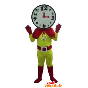 Superhero mascot with a clock shaped head - MASFR24277 - Superhero mascot