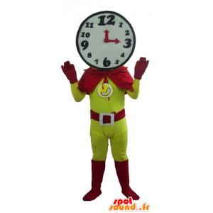 Supersankari maskotti kanssa kellon muotoinen pää - MASFR24277 - supersankari maskotti