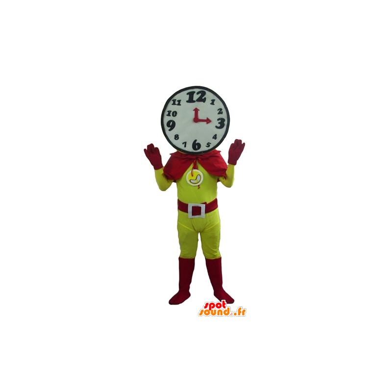 Superhero mascot with a clock shaped head - MASFR24277 - Superhero mascot