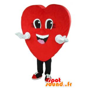 Coração vermelho mascote, gigante e sorrindo - MASFR24280 - mascote dos namorados
