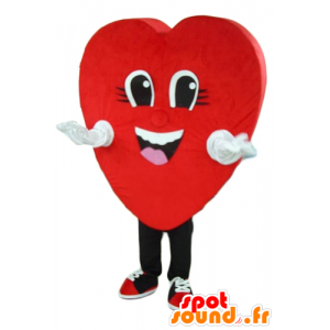 Mascot red heart, giant and smiling - MASFR24280 - Valentine mascot