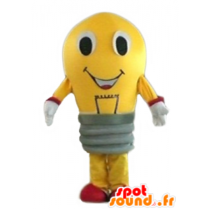 Gul pære maskot og rød kjempe - MASFR24283 - Maskoter Bulb