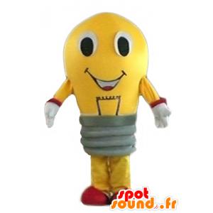 Keltainen lamppu maskotti ja punainen jättiläinen - MASFR24283 - Mascottes Ampoule