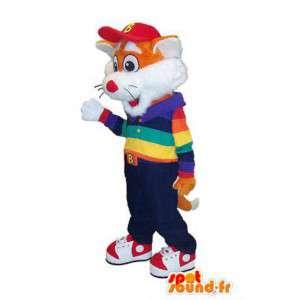 Maskottchen-orange und weiß Fuchs im bunten Outfit - MASFR006651 - Maskottchen-Fox