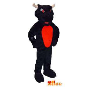 Mascotte toro marrone con gli occhi rossi