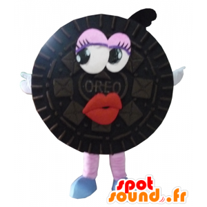 Mascotte d'Oréo, de gâteau noir, tout rond