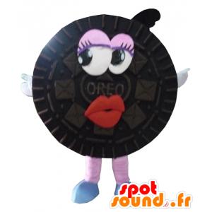 Maskotti Oreo, musta kakku ympärillä, - MASFR24291 - Mascottes de patisserie