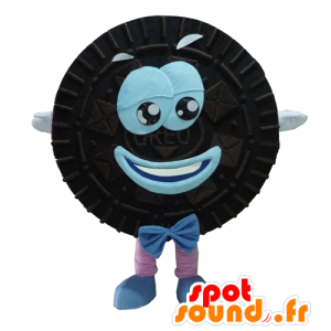 Mascot Oreo, sorte og blå kake rund og smilende