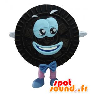 Mascotte d'Oréo, de gâteau noir et bleu, rond et souriant