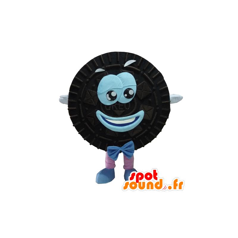 Maskotti Oreo, musta ja sininen kakku pyöreä ja hymyilevä - MASFR24292 - Mascottes de patisserie