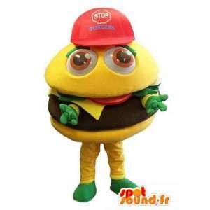Giant hampurilainen maskotti, hauska - kaikki koot - MASFR006656 - Mascottes Fast-Food