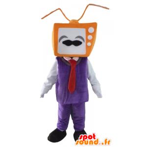 Mascot man, met een hoofd in de vorm TV - MASFR24303 - man Mascottes