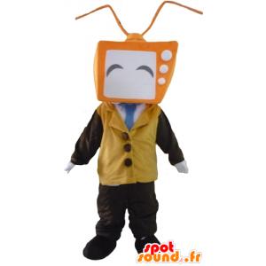 Maskottchen-Mann mit einem TV förmigen Kopf - MASFR24304 - Menschliche Maskottchen