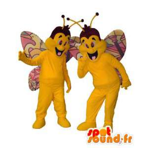 Mascotas de colores amarillo y mariposas.Pack de 2
