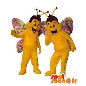 Maskottchen gelben und bunten Schmetterlingen.Packung mit 2