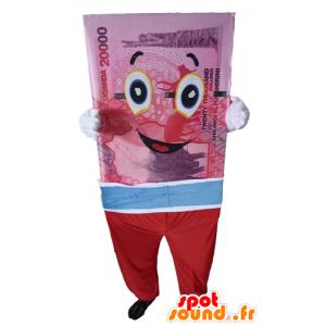 Mascotte de billet de banque géant, rose, bleu et rouge - MASFR24306 - Mascottes d'objets