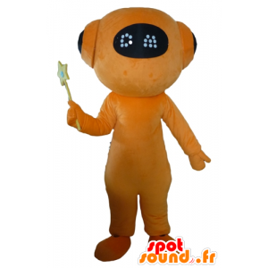 La mascota de color naranja y negro robot, alien gigante