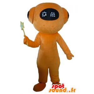 Mascot oranje en zwarte robot, reuze vreemde
