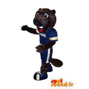 Dunkelbraun Biber-Maskottchen in der Sportkleidung - MASFR006658 - Sport-Maskottchen