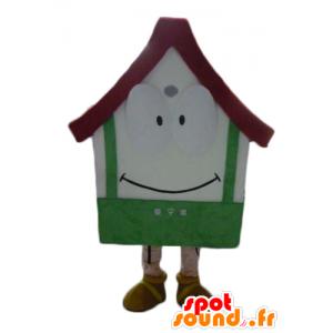 Mascot gigantisk hus, hvit, rød og grønn